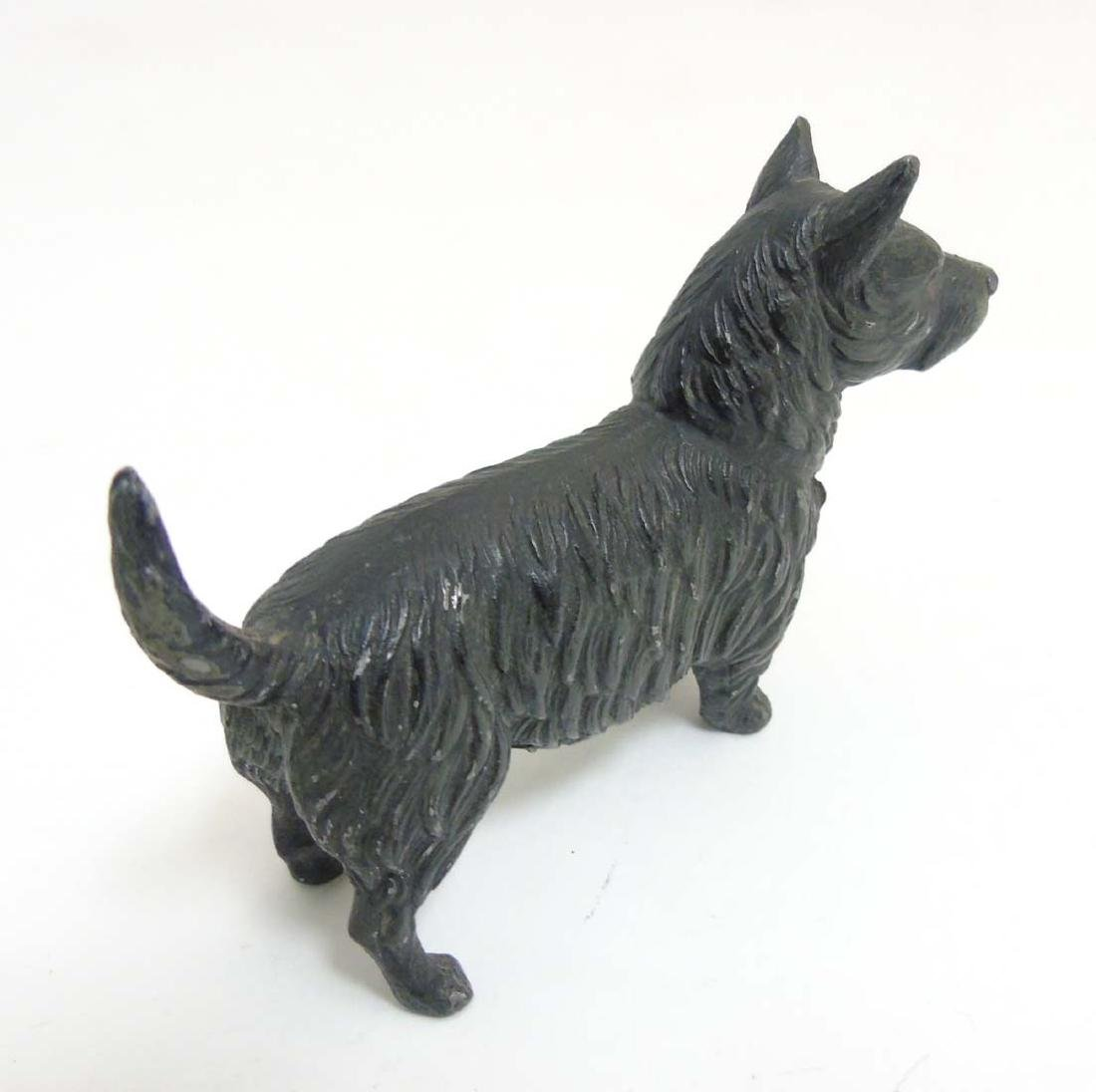 A Victorian cold painted base metal model of a terrier - 4