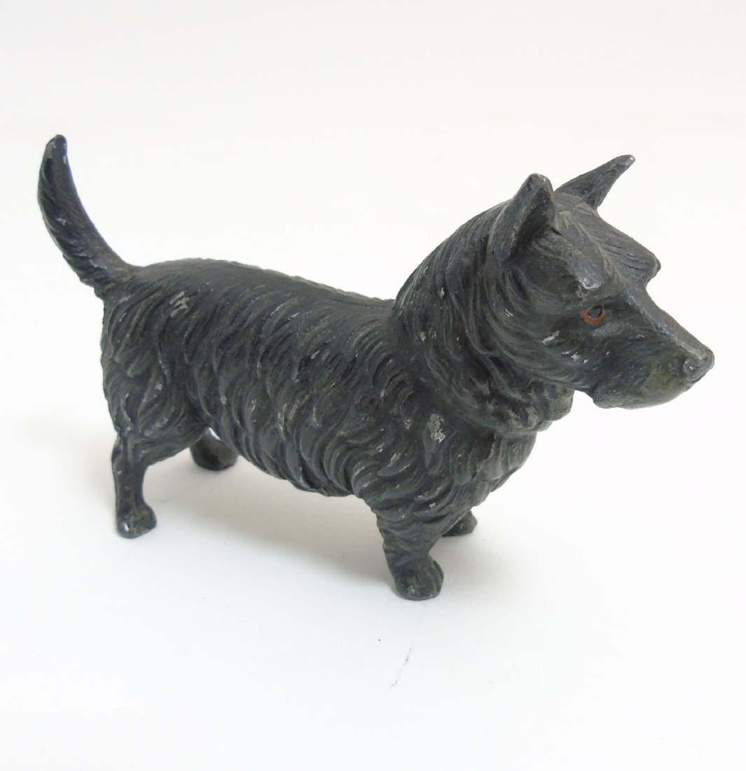 A Victorian cold painted base metal model of a terrier - 5