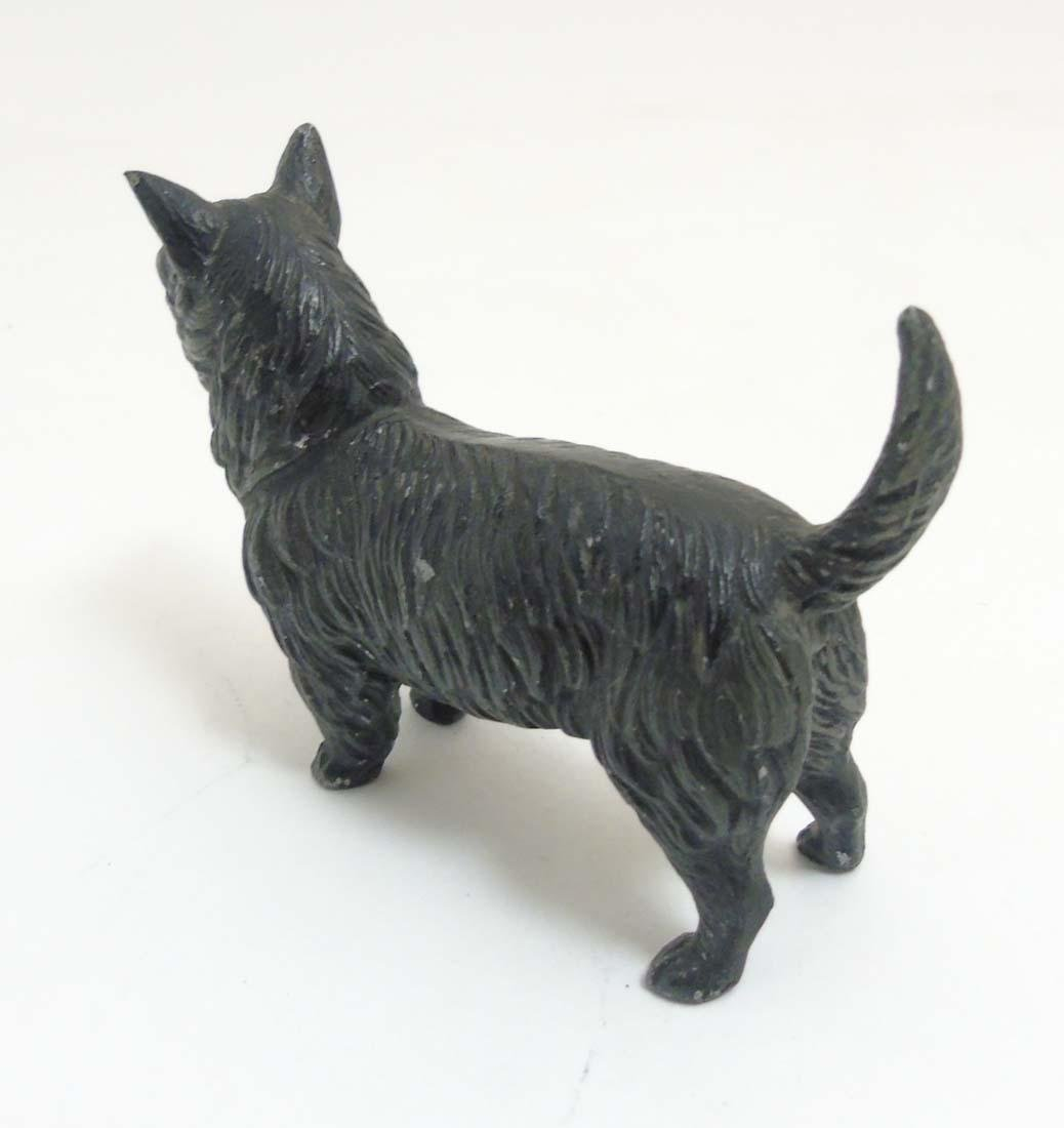 A Victorian cold painted base metal model of a terrier - 6