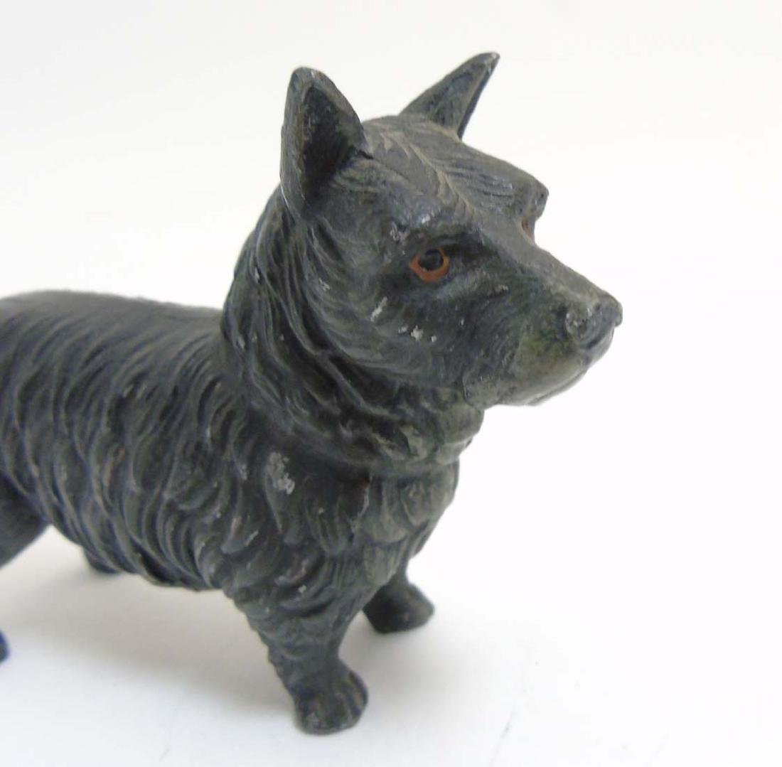 A Victorian cold painted base metal model of a terrier - 8