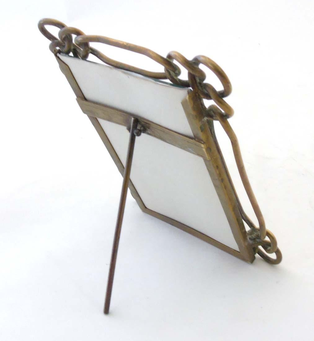 A late Victorian brass chain link photograph frame with - 2