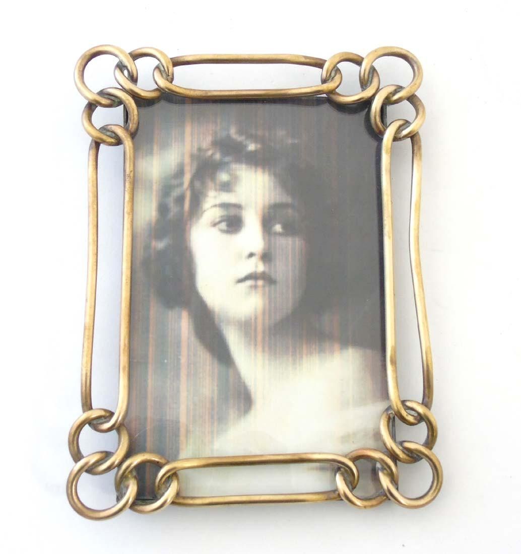 A late Victorian brass chain link photograph frame with - 3