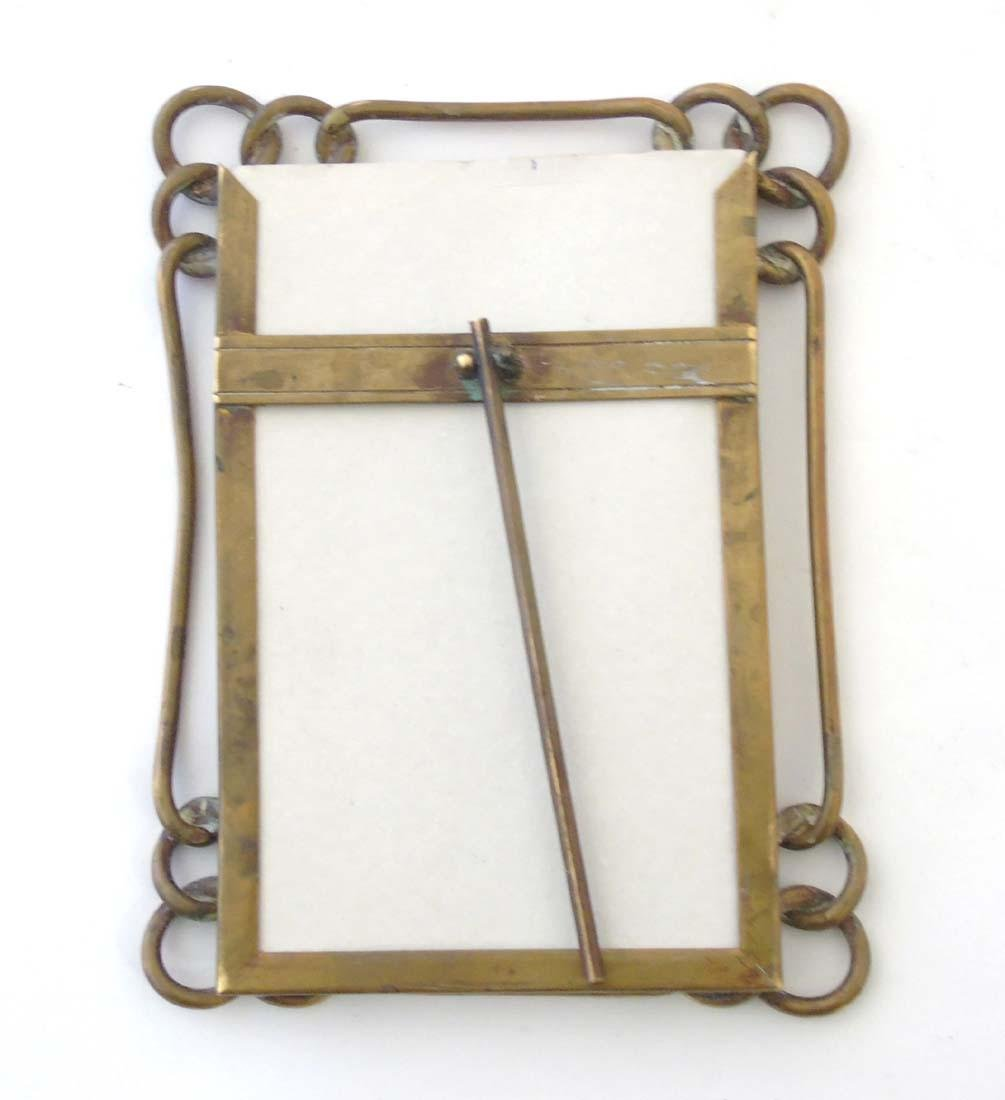 A late Victorian brass chain link photograph frame with - 4