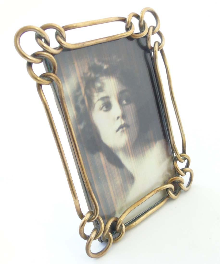 A late Victorian brass chain link photograph frame with - 5