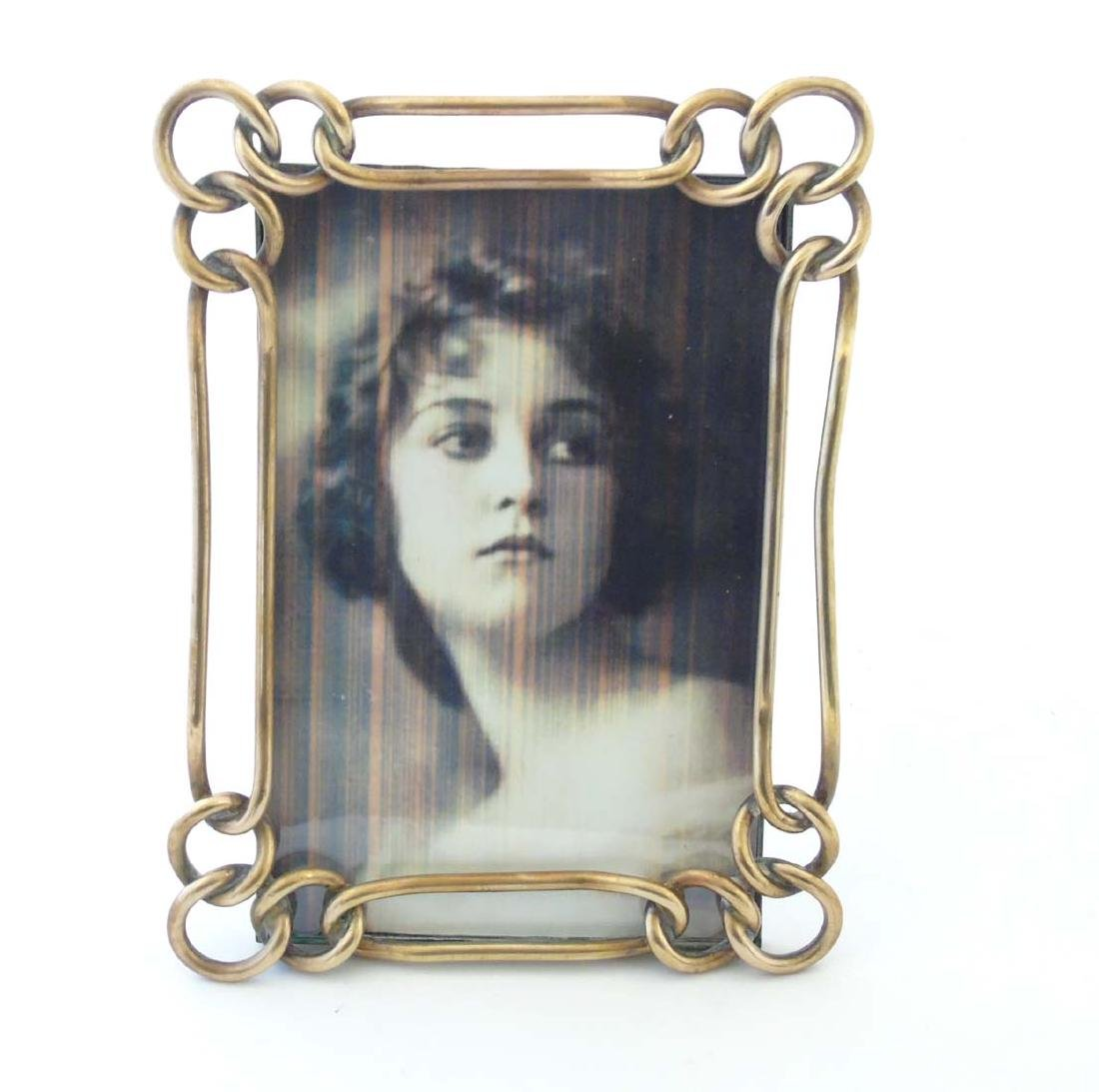 A late Victorian brass chain link photograph frame with - 6
