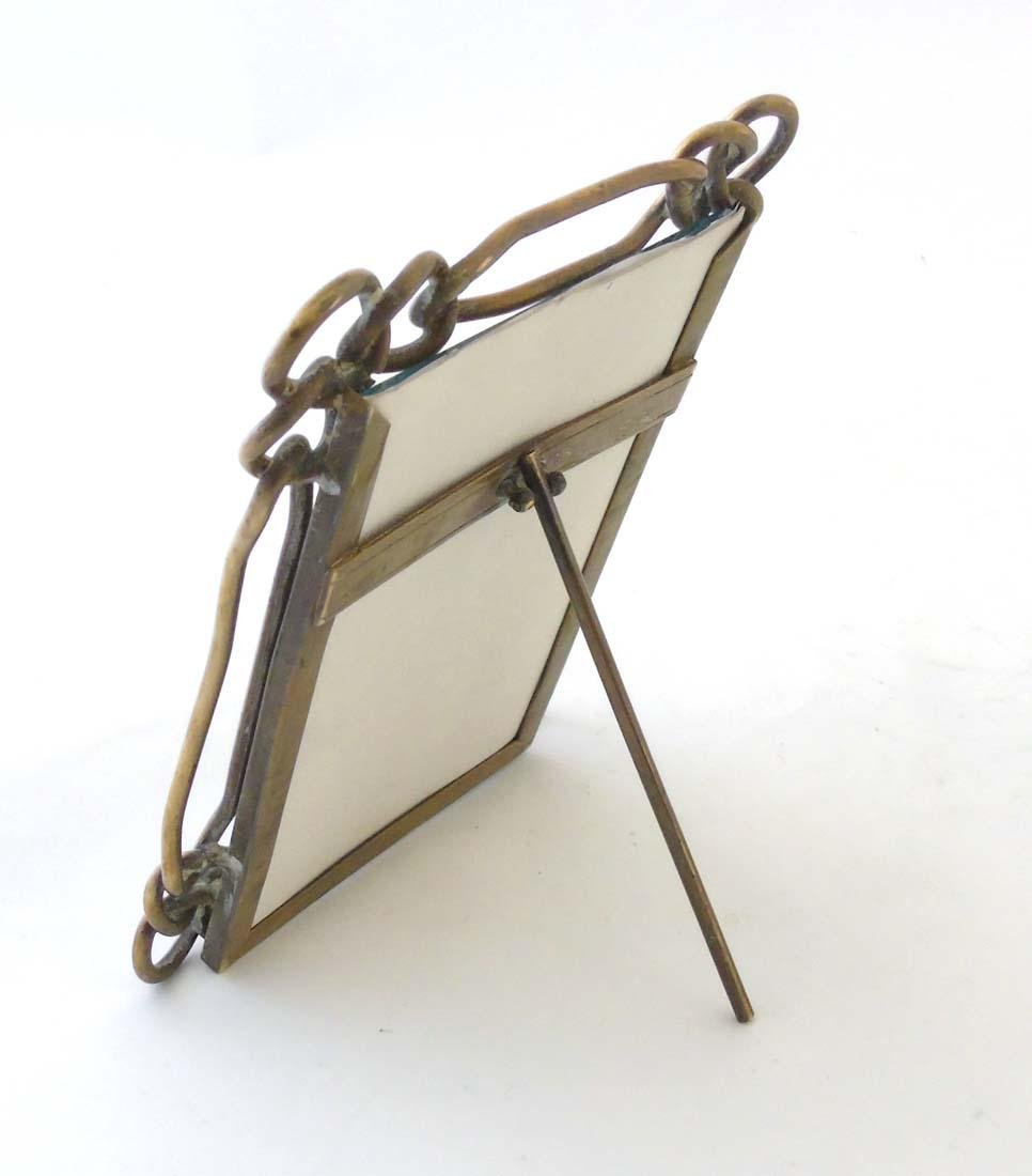 A late Victorian brass chain link photograph frame with - 7