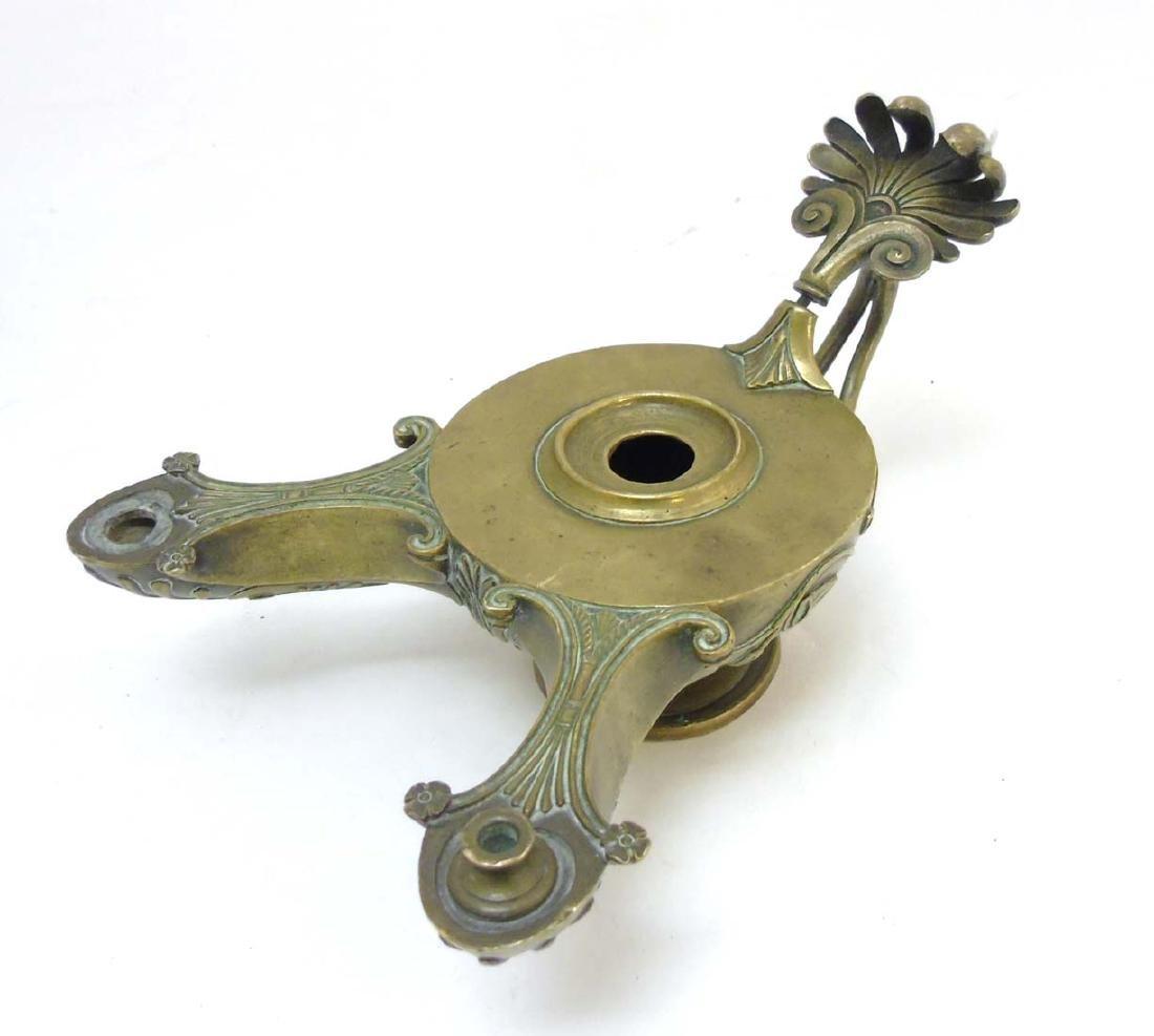 A Regency brass Romanesque 2- branch pedestal oil lamp - 4