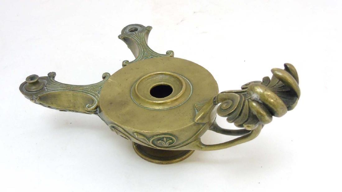 A Regency brass Romanesque 2- branch pedestal oil lamp - 5