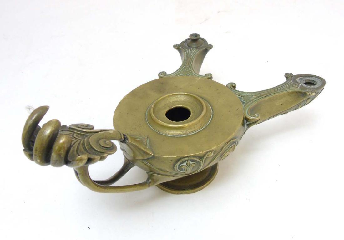 A Regency brass Romanesque 2- branch pedestal oil lamp - 6