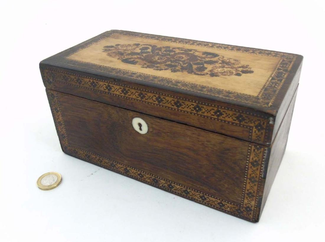 A mid 19thC Tunbridge stickware tea caddy with Rosewood