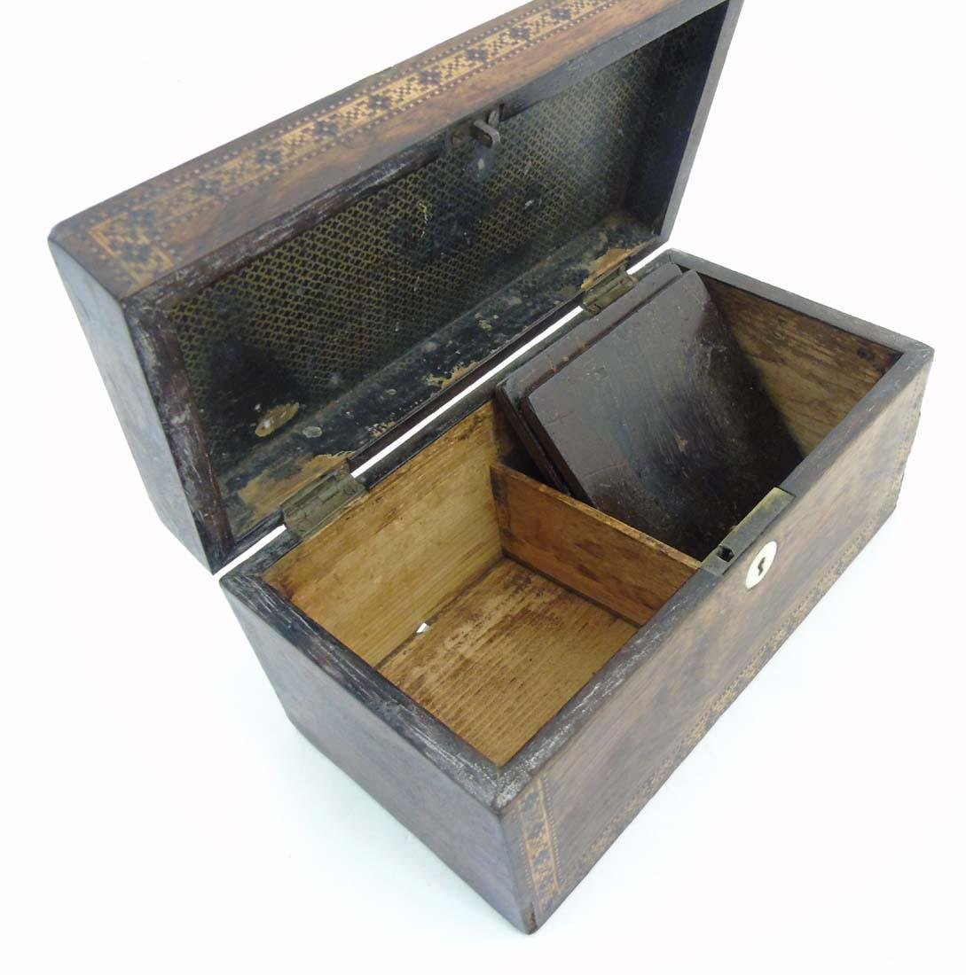 A mid 19thC Tunbridge stickware tea caddy with Rosewood - 2