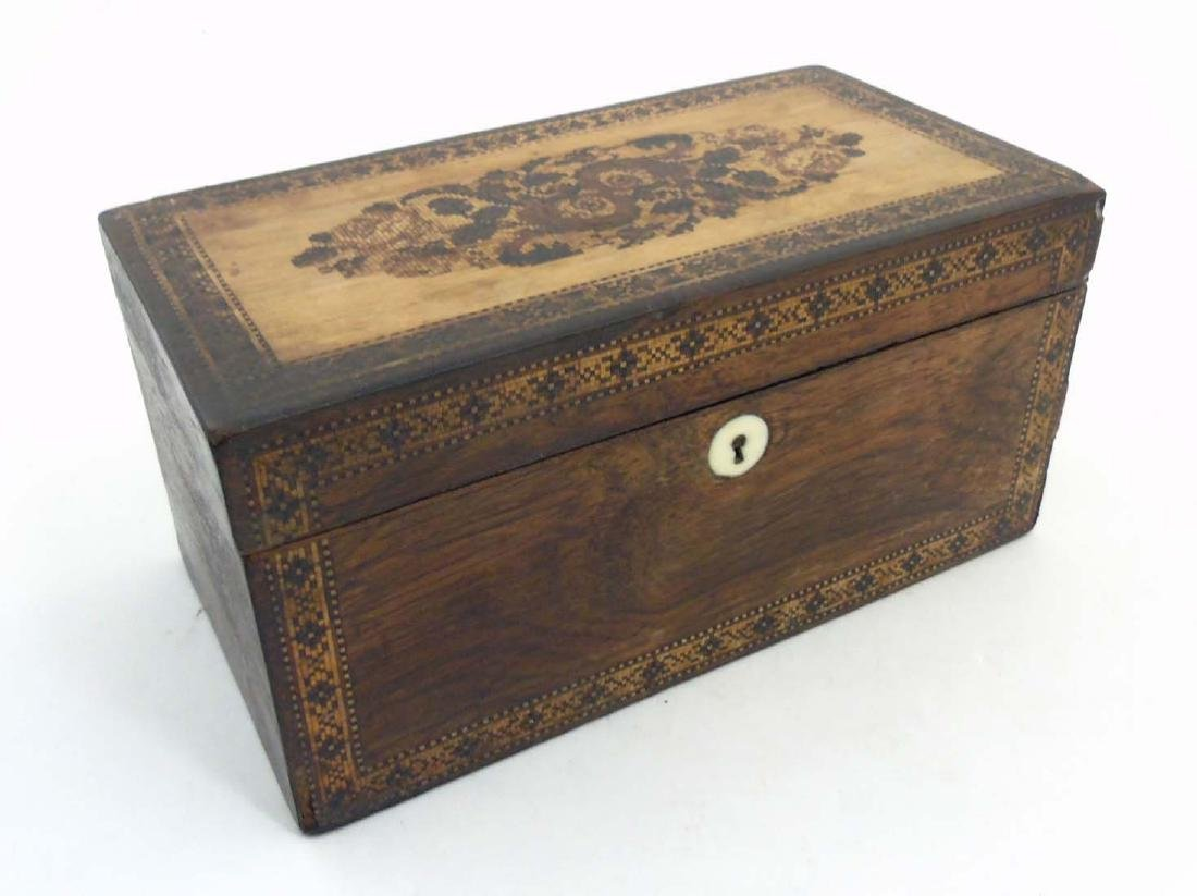 A mid 19thC Tunbridge stickware tea caddy with Rosewood - 4