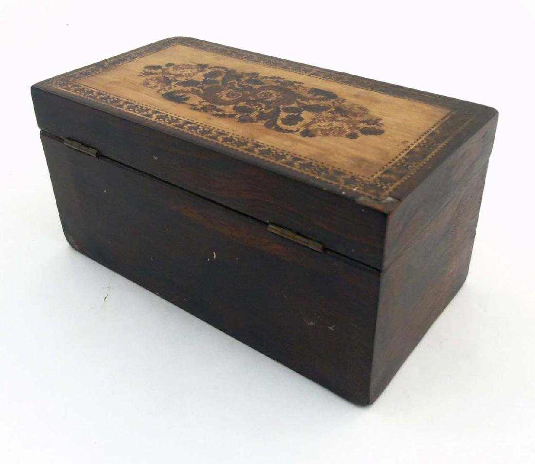 A mid 19thC Tunbridge stickware tea caddy with Rosewood - 5