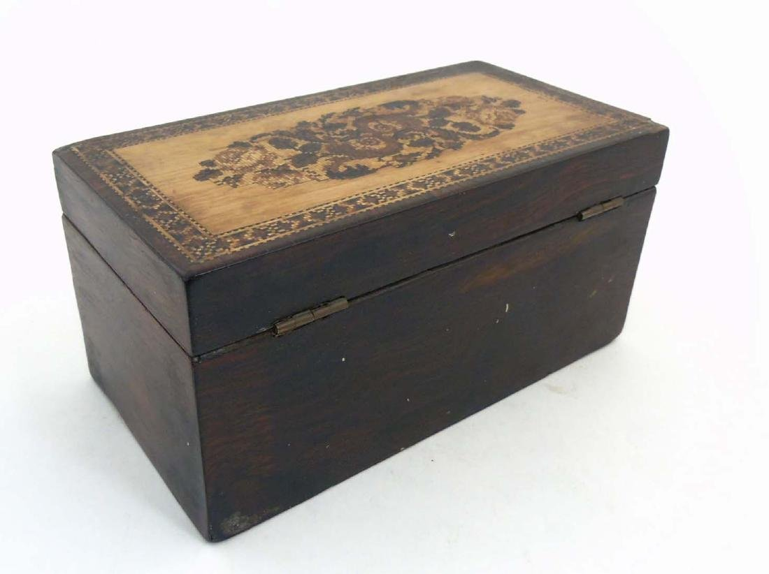A mid 19thC Tunbridge stickware tea caddy with Rosewood - 6