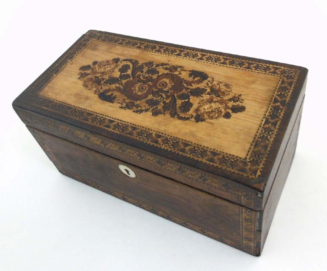 A mid 19thC Tunbridge stickware tea caddy with Rosewood - 7
