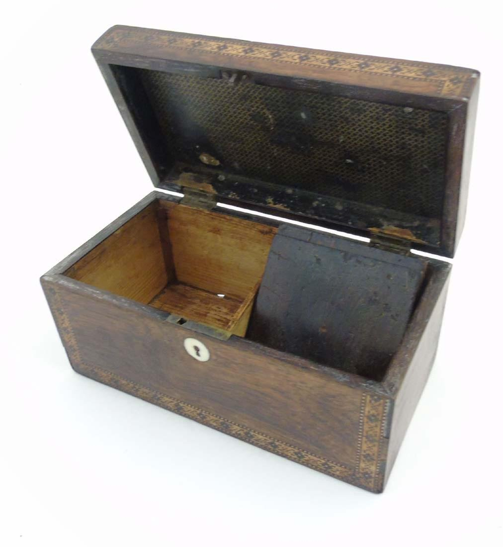 A mid 19thC Tunbridge stickware tea caddy with Rosewood - 8