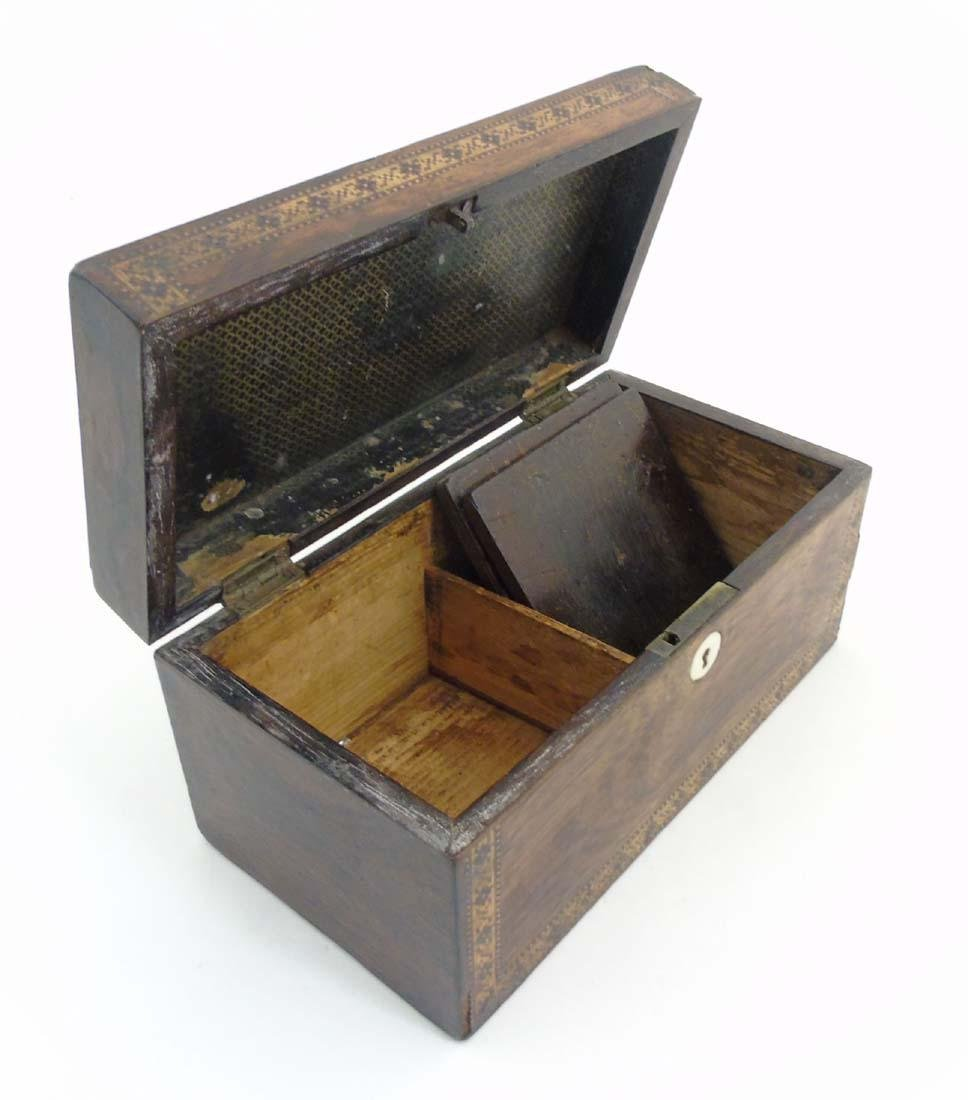 A mid 19thC Tunbridge stickware tea caddy with Rosewood - 9