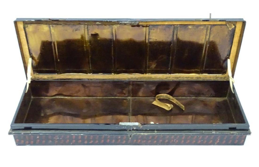 A 19thC tole painted tin trunk, of under bed style. - 3