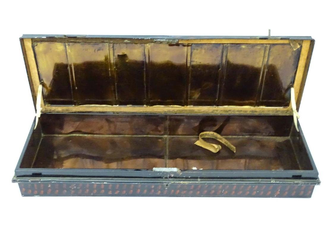 A 19thC tole painted tin trunk, of under bed style. - 4