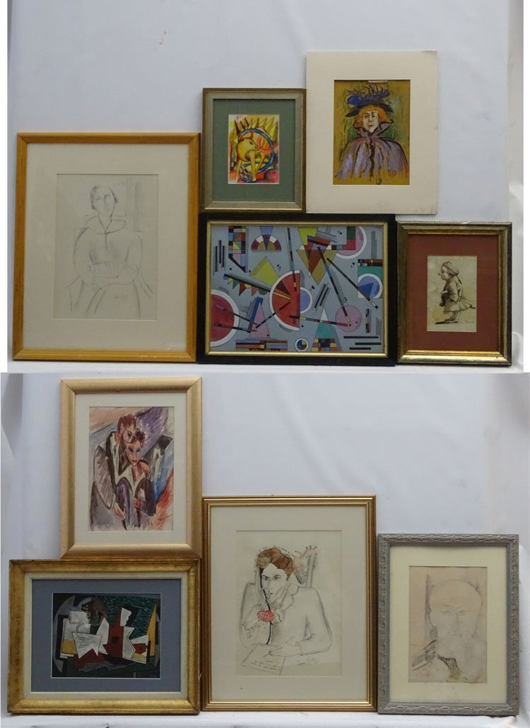 9 assorted  framed pictures , including watercolours ,