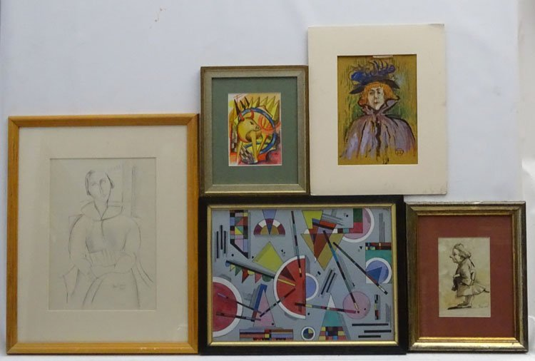 9 assorted  framed pictures , including watercolours , - 2
