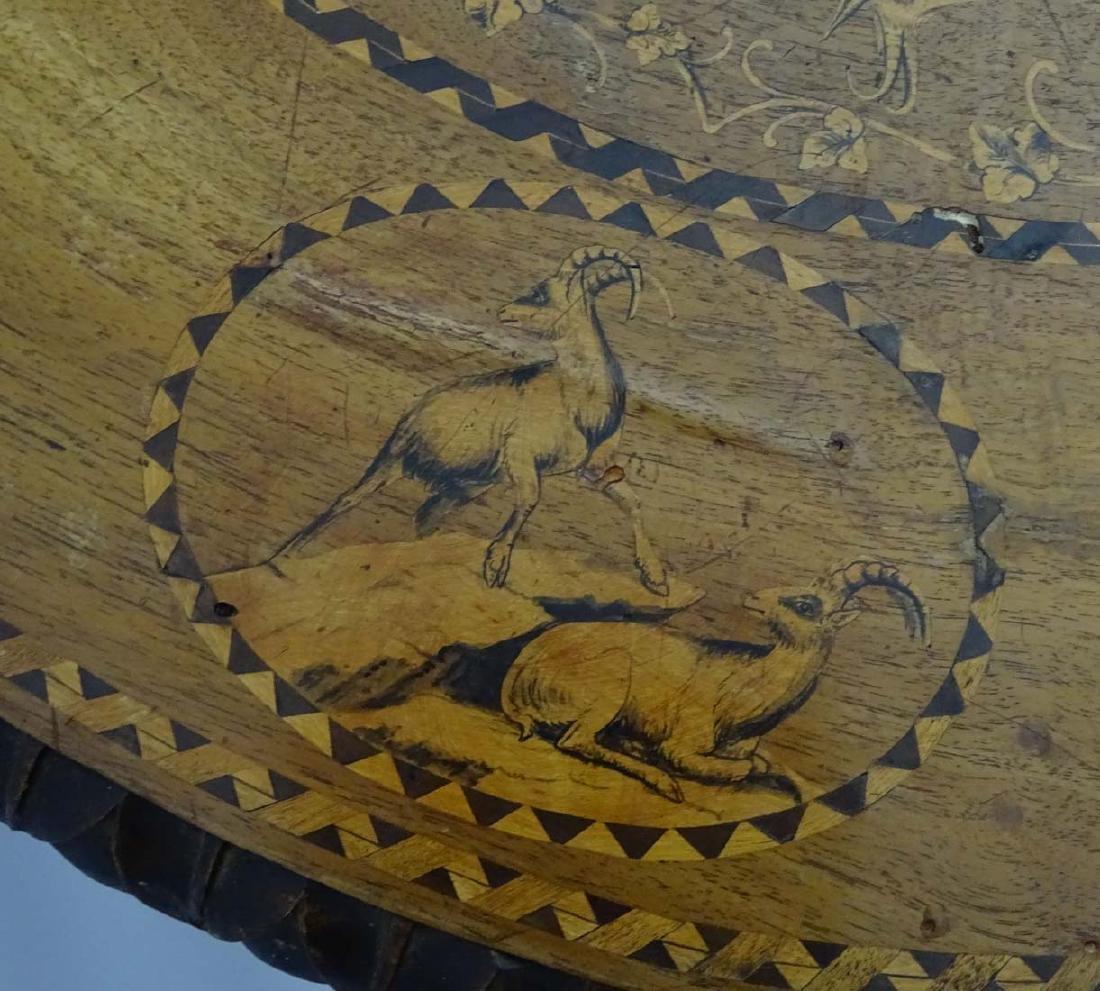 A 19thC black forest tilt top table with marquetry - 6