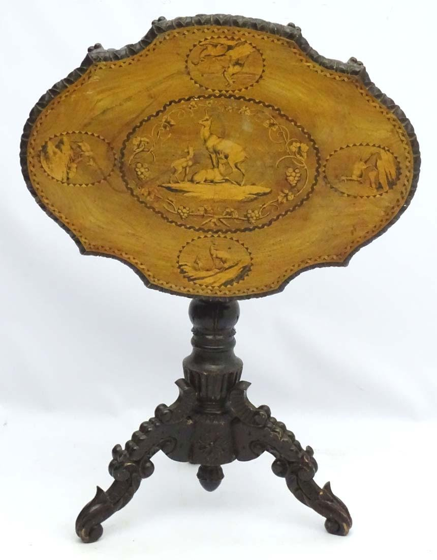 A 19thC black forest tilt top table with marquetry - 9