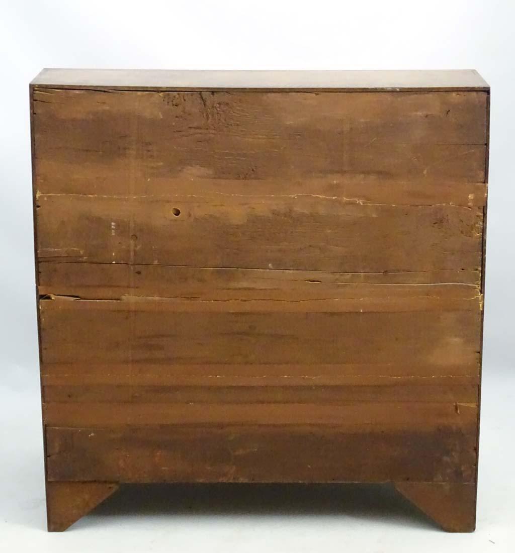 A Georgian oak bureau with four long drawers and a - 4
