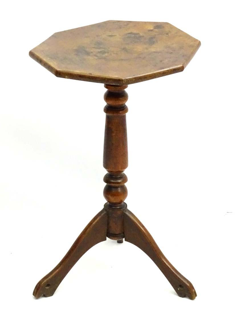 An early / mid 19thC fruitwood tripod table with - 2