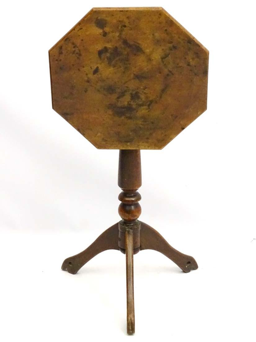 An early / mid 19thC fruitwood tripod table with - 5
