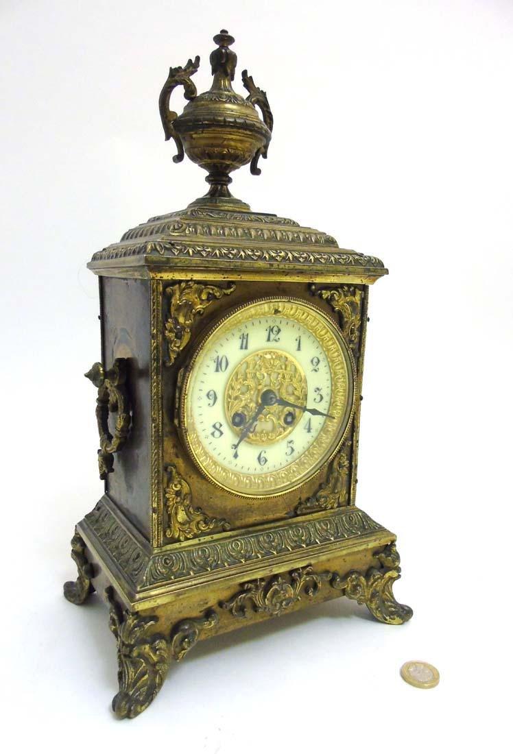 Brass ornate mantel clock  : A French ornate cased 8