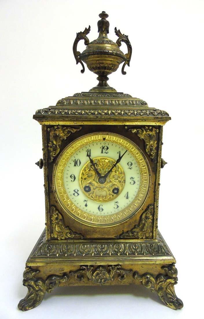 Brass ornate mantel clock  : A French ornate cased 8 - 2