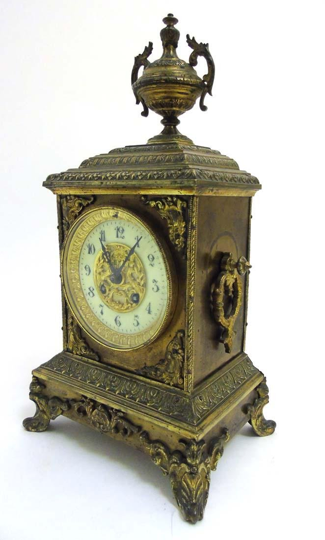 Brass ornate mantel clock  : A French ornate cased 8 - 3