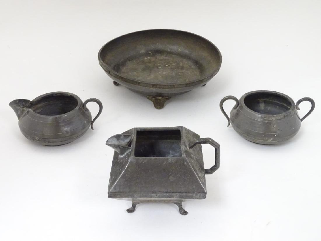 Assorted pewter items by Lion pewter , English Hammered