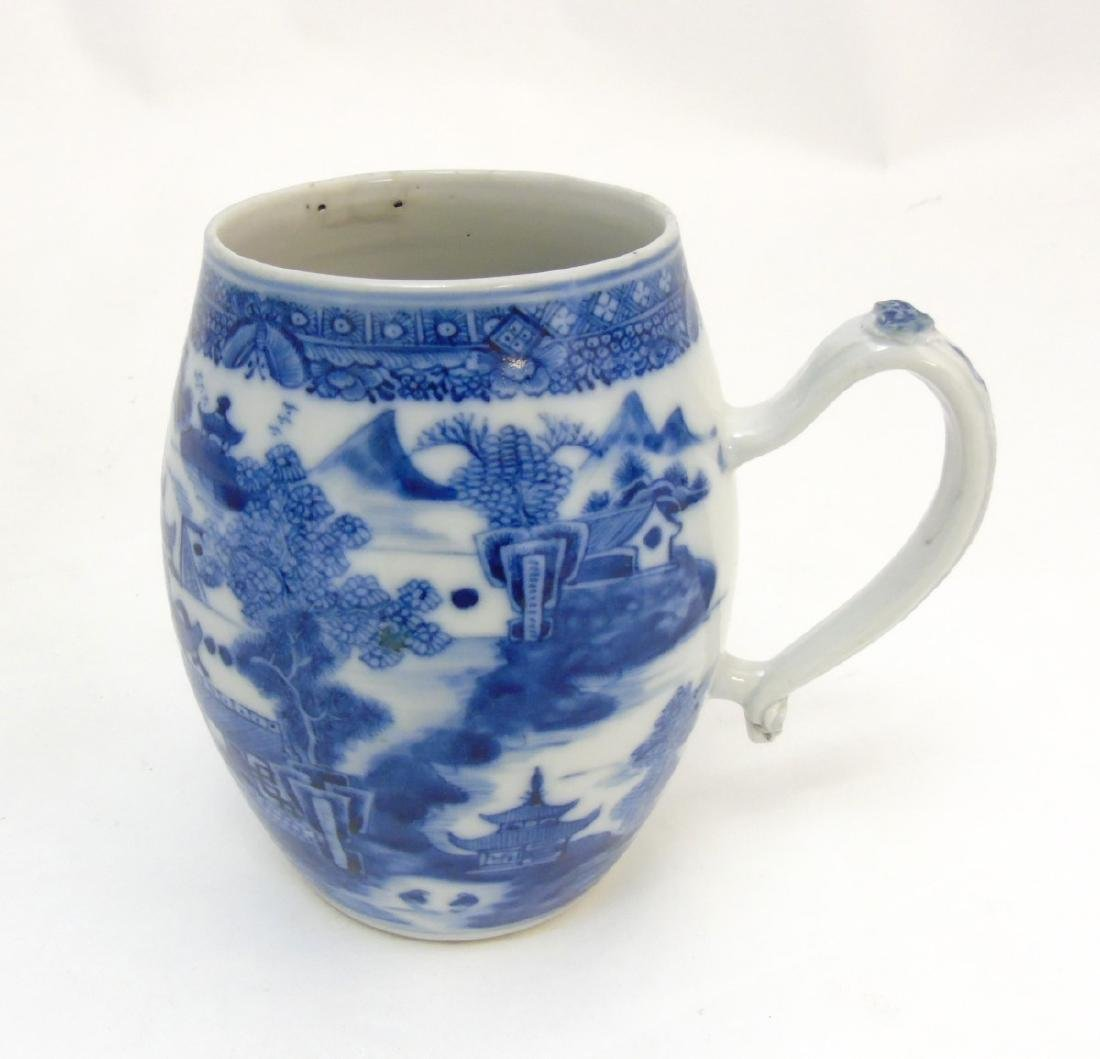 An 18thC Chinese blue and white export tankard, - 5