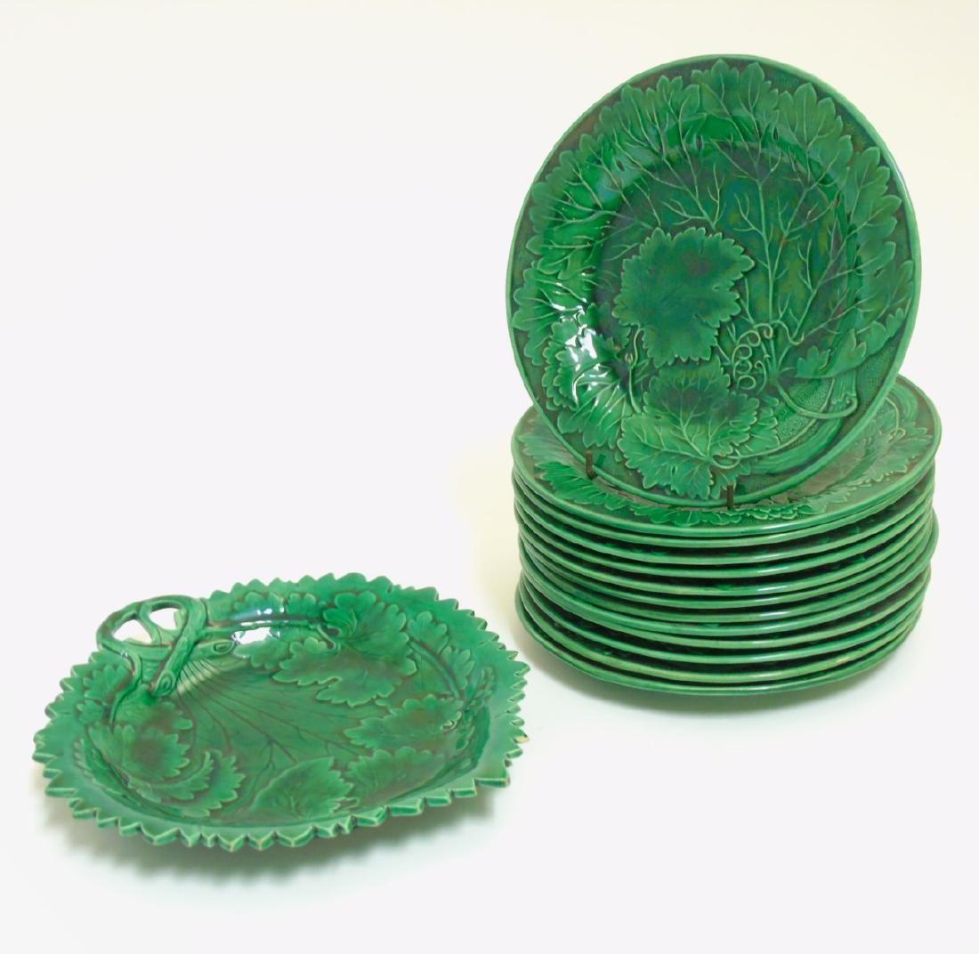 A quantity of 14 19thC green leaf lead glaze plates,