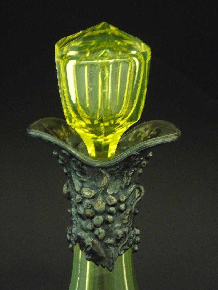 A Uranium yellow glass decanter / carafe and stopper, - 6
