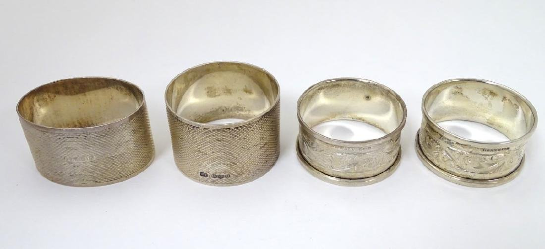 A pair of silver napkin rings hallmarked Sheffield 1976
