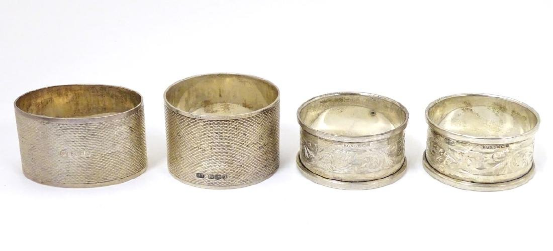 A pair of silver napkin rings hallmarked Sheffield 1976 - 3