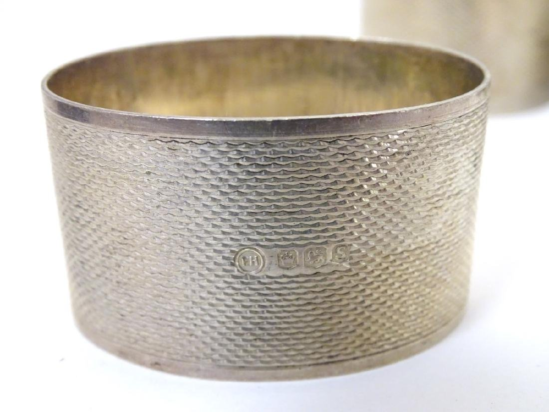 A pair of silver napkin rings hallmarked Sheffield 1976 - 4