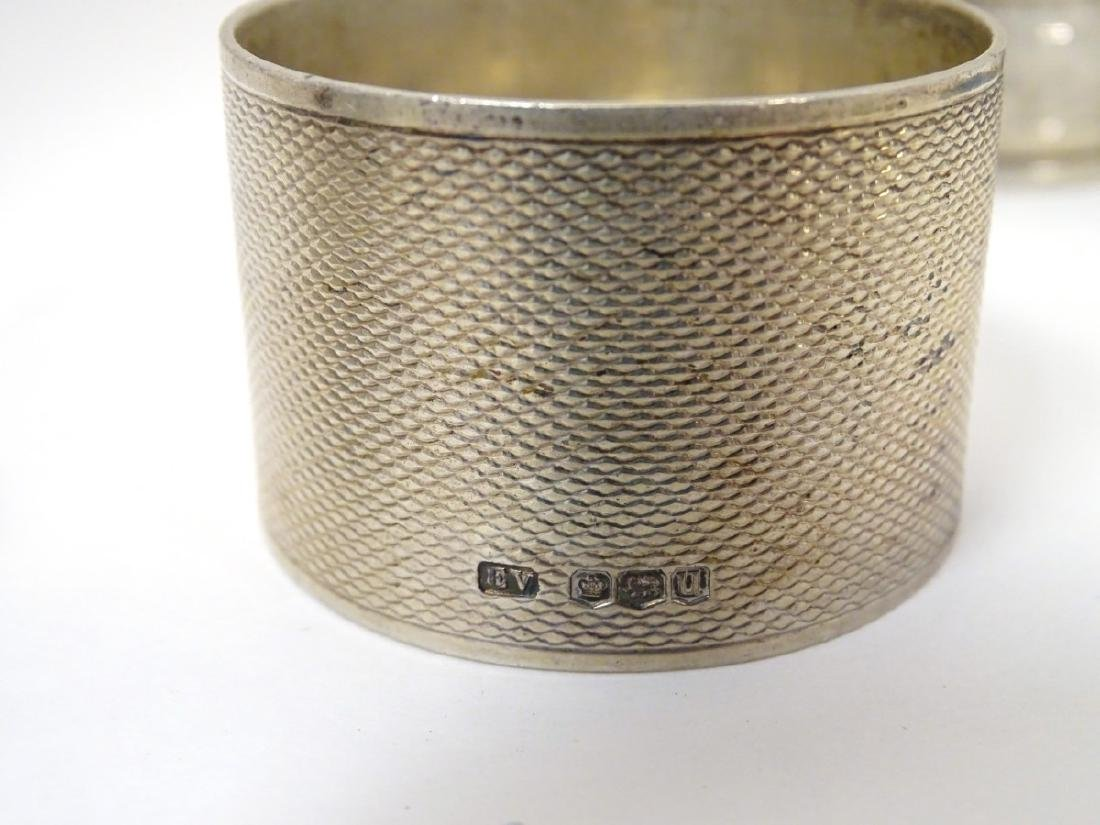 A pair of silver napkin rings hallmarked Sheffield 1976 - 5