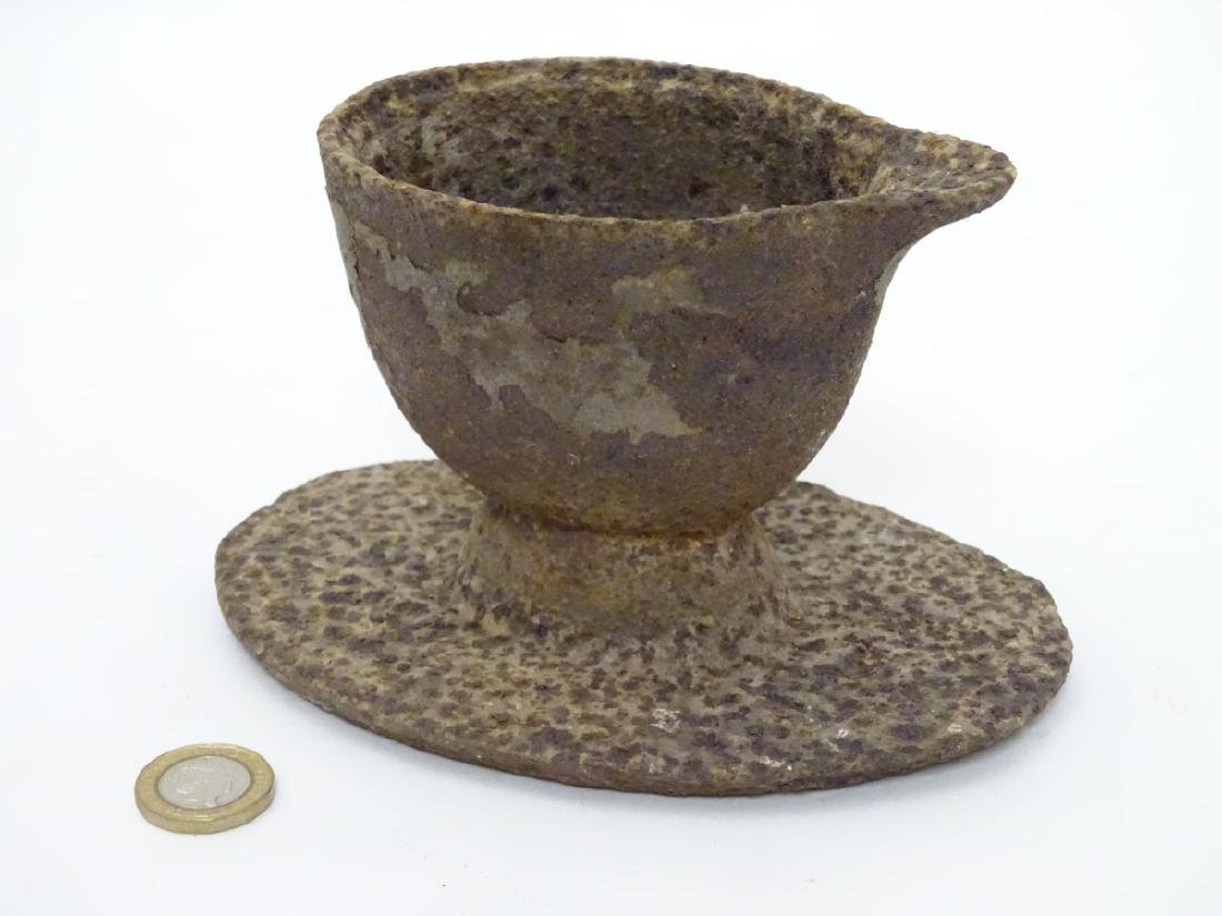 An unusual 19thC cast iron jugged vessel and oval stand - 3