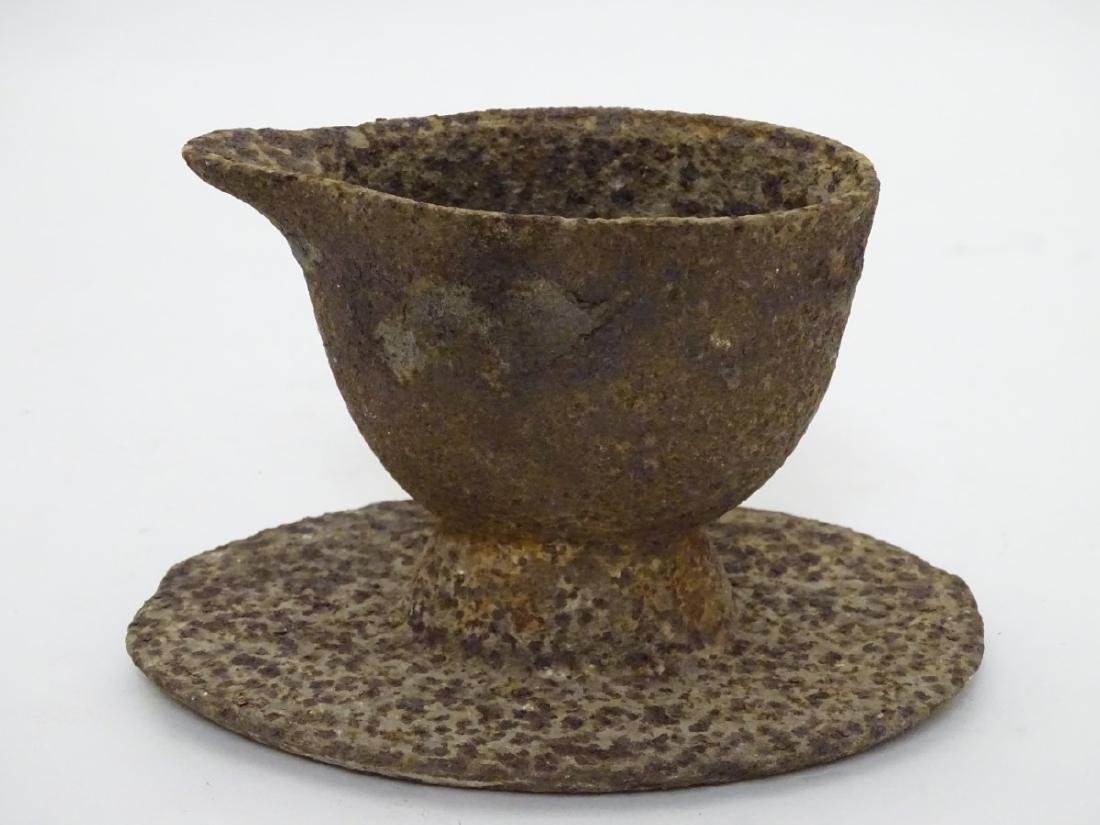 An unusual 19thC cast iron jugged vessel and oval stand - 4