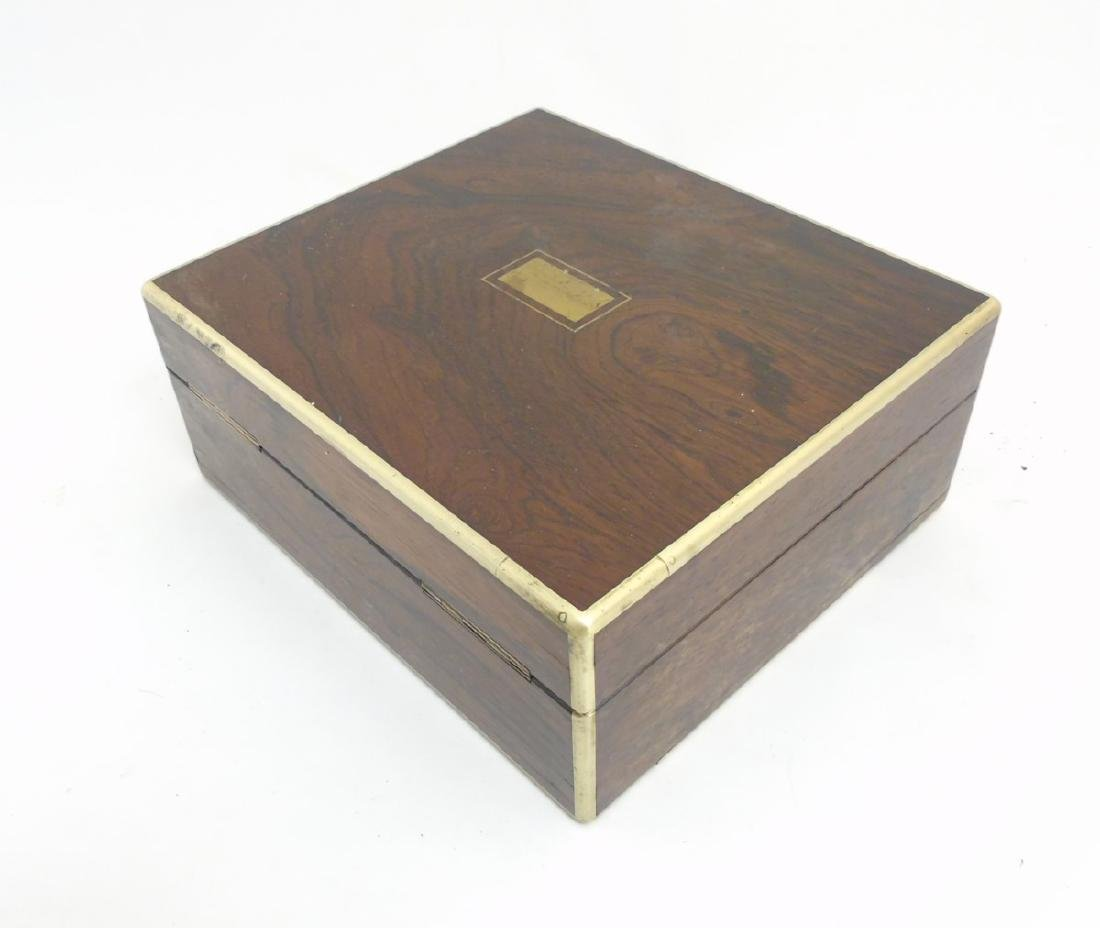 A 19thC Rosewood and brass cornered box with sprung - 6