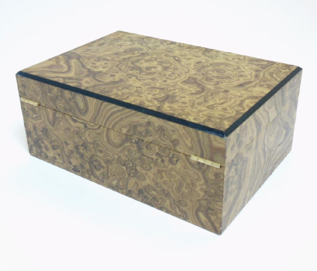A mid - late 20thC burrwalnut (unstained) cigar humidor - 5