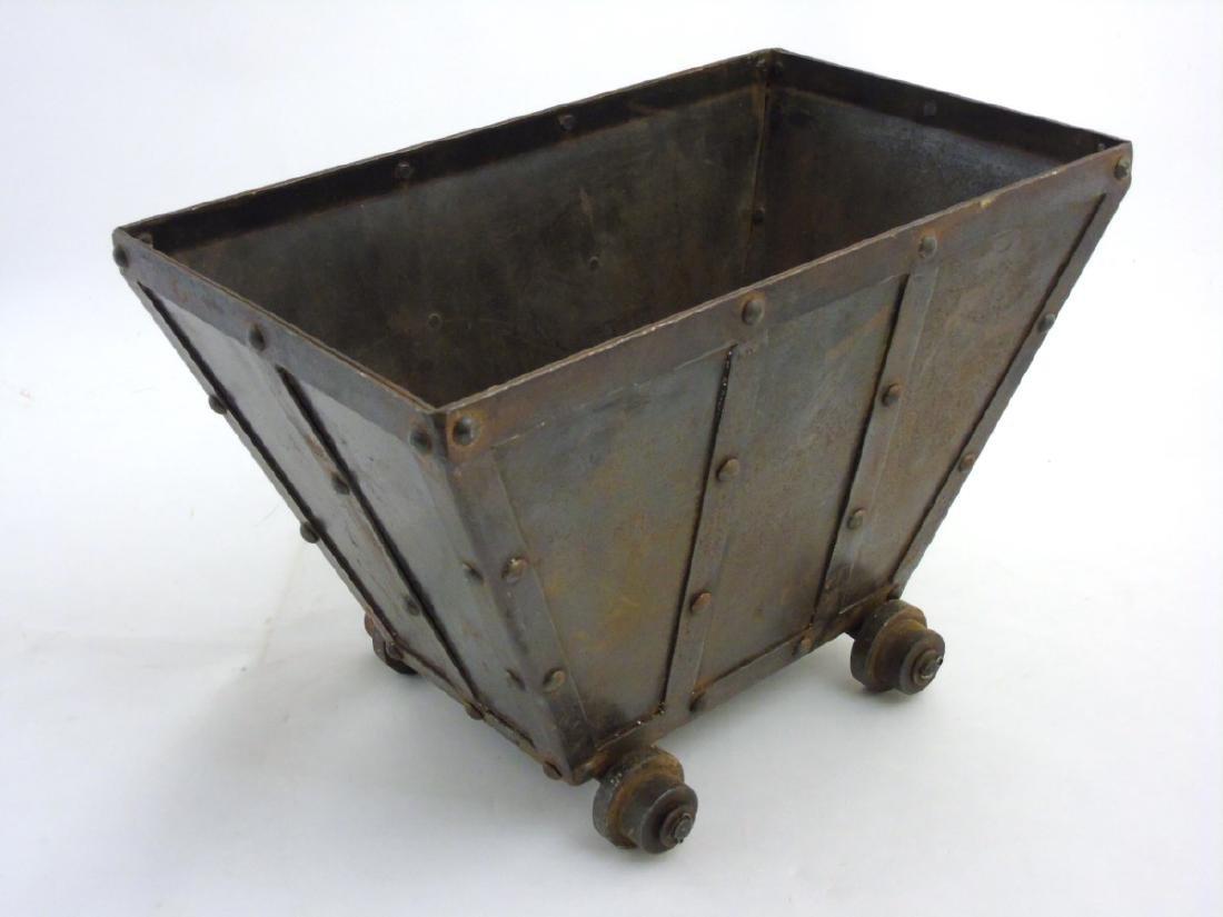 A circa 1900 Coal / log / waste paper bin formed as a - 4