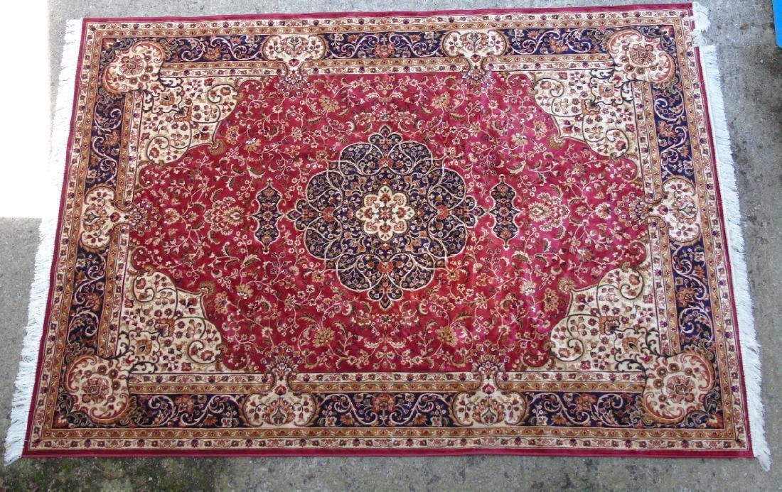 Rug / Carpet : Keshan machine made carpet with red
