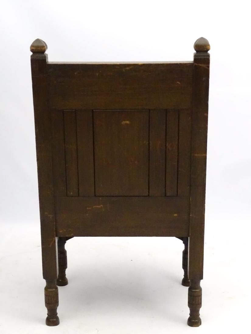 A late 19thC oak throne chair / arm chair with demi - 2
