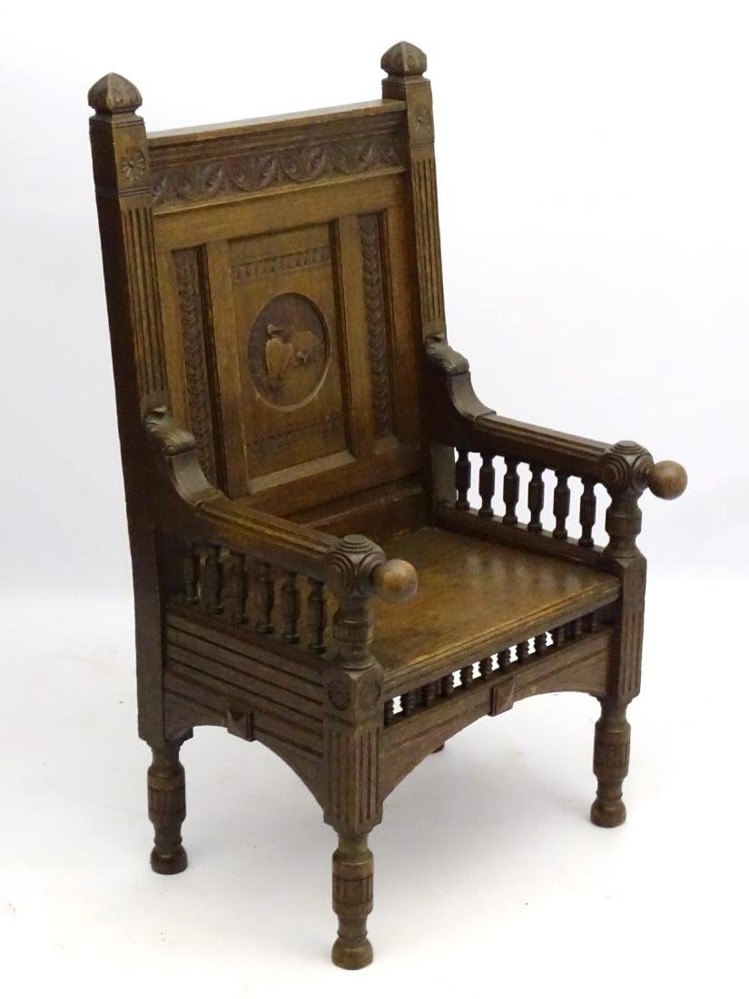 A late 19thC oak throne chair / arm chair with demi - 3