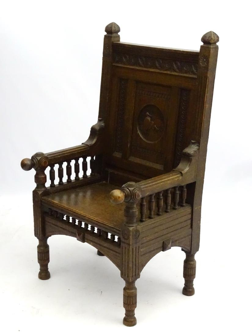 A late 19thC oak throne chair / arm chair with demi - 5